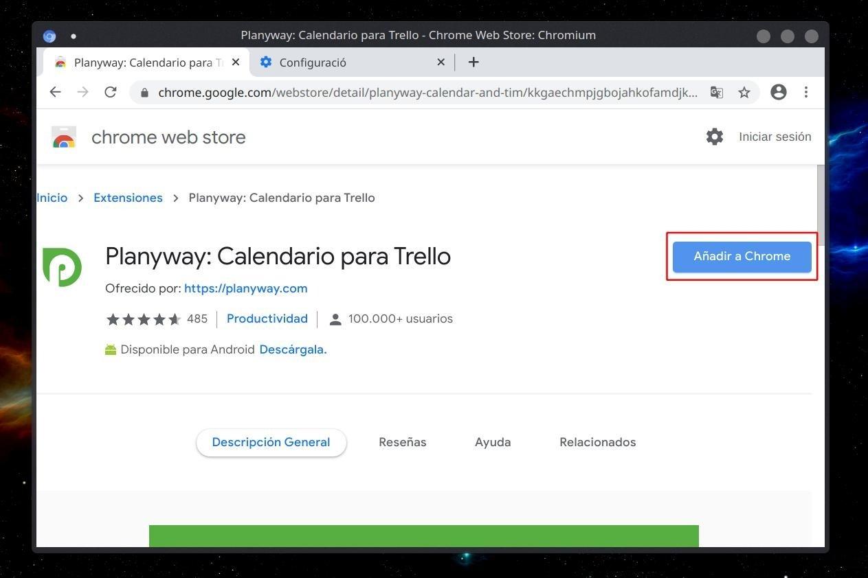 Botón para añadir una extensión a Chrome