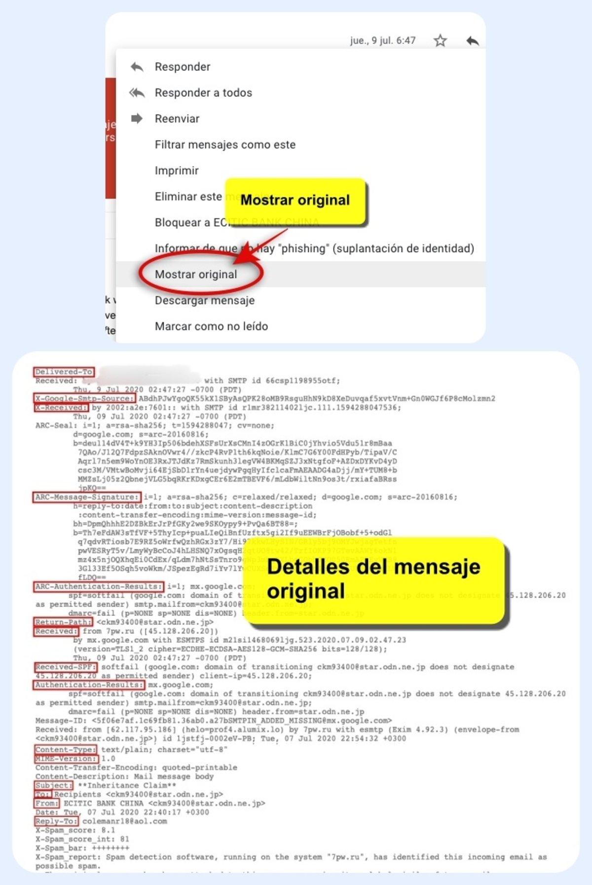 Cómo saber la procedencia real de un email