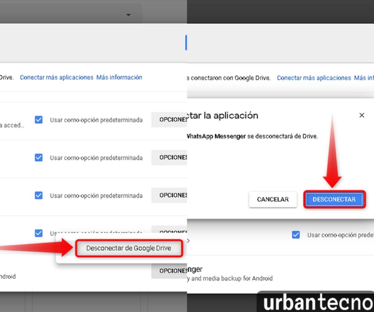 Da clic en Desconectar de Google Drive