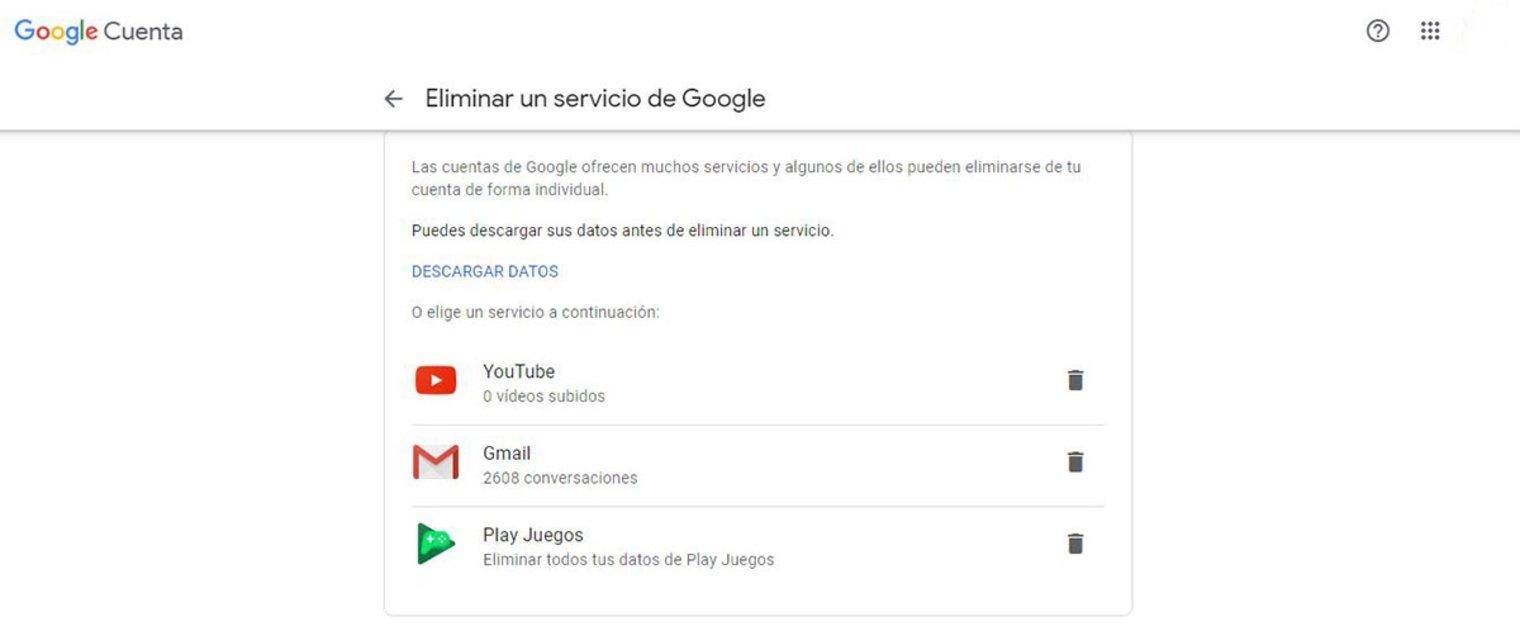Pasos para borrar cuenta de Gmail