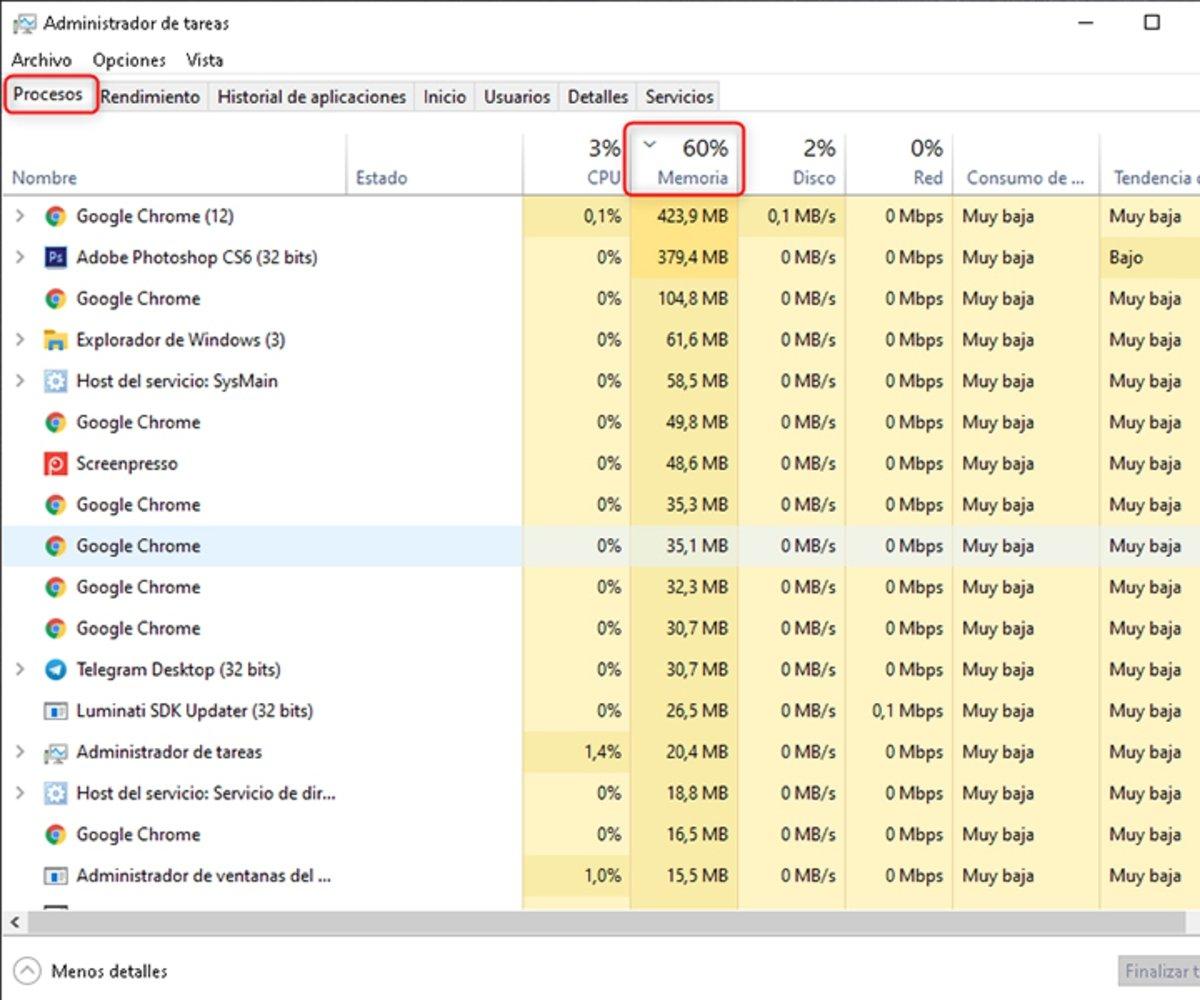 Cómo saber qué programas consumen la memoria RAM en Windows-2
