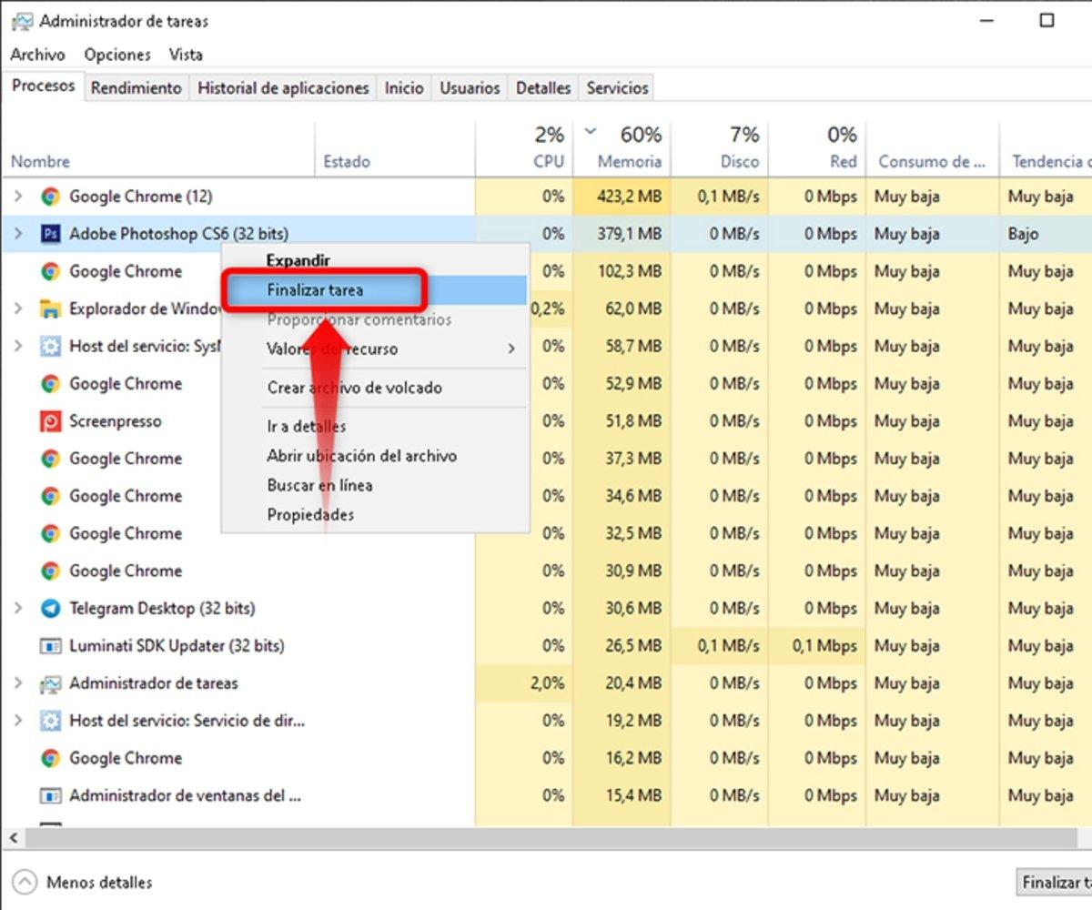 Finalizar proceso en windows