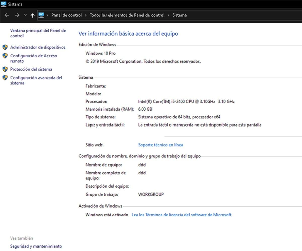 Abrir el panel de control clásico del sistema en Windows 10