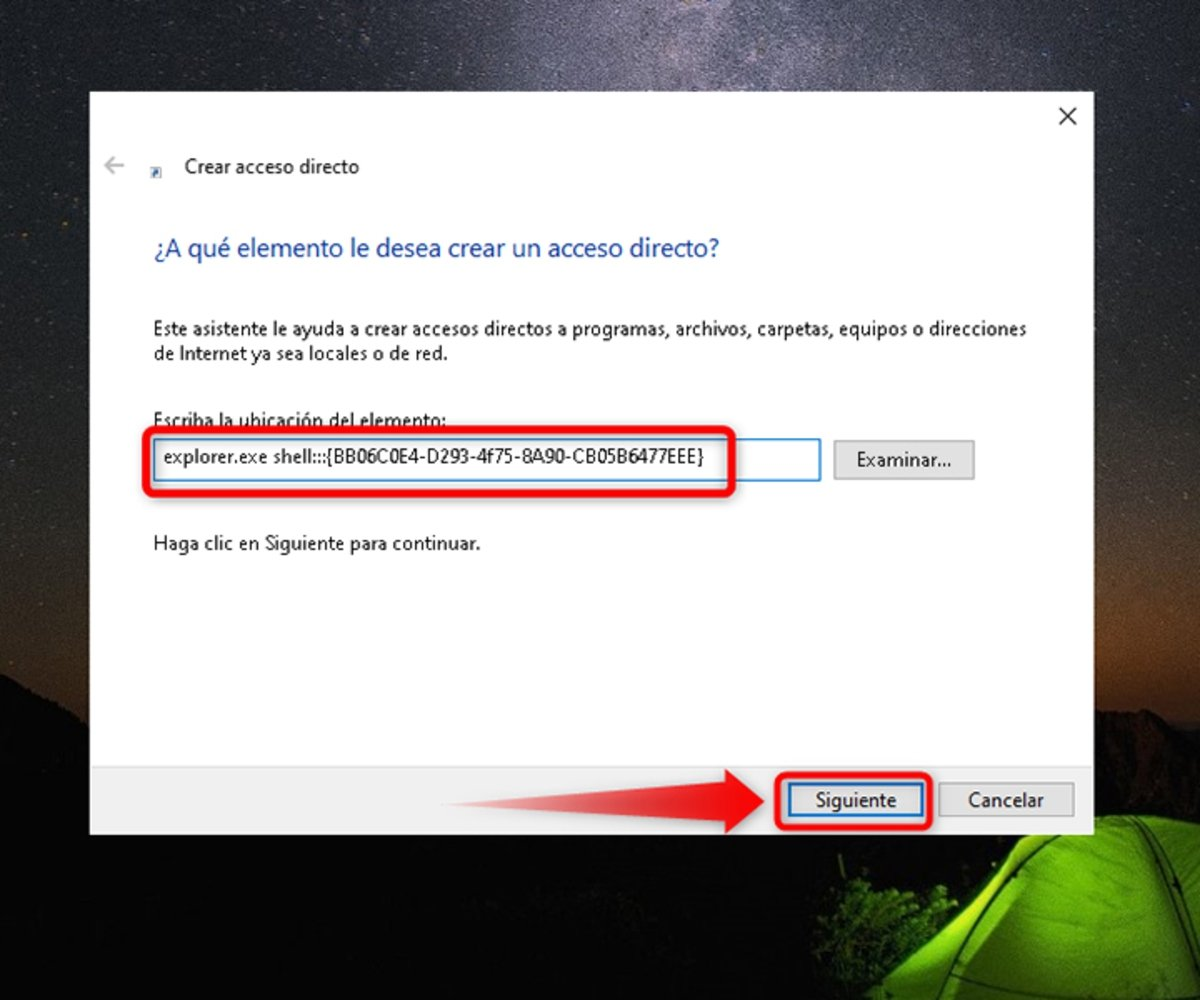 Inserta el script en el cuadro de texto de Windows 10