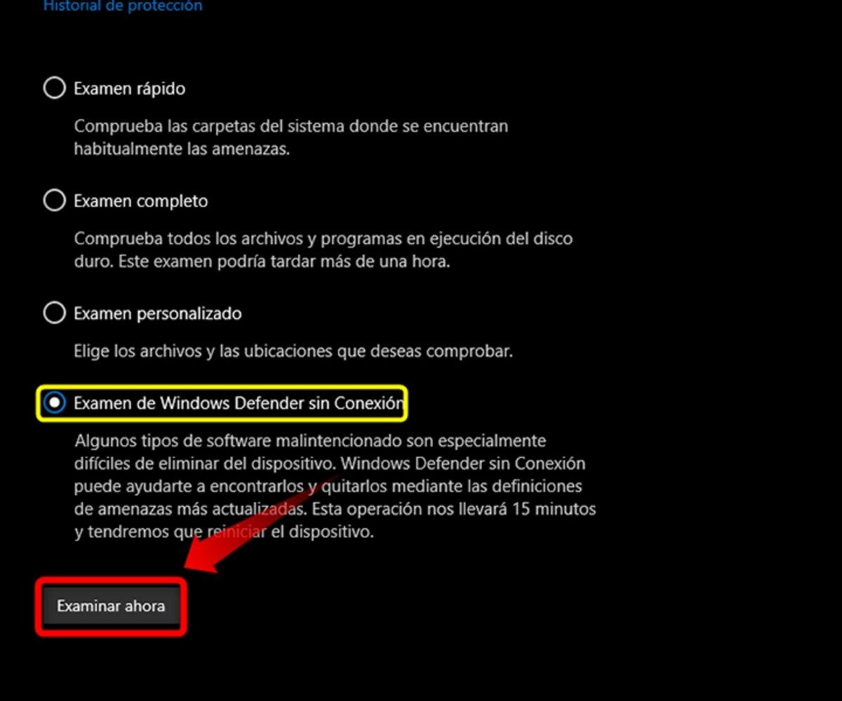 Análisis de Microsoft Defender sin conexión