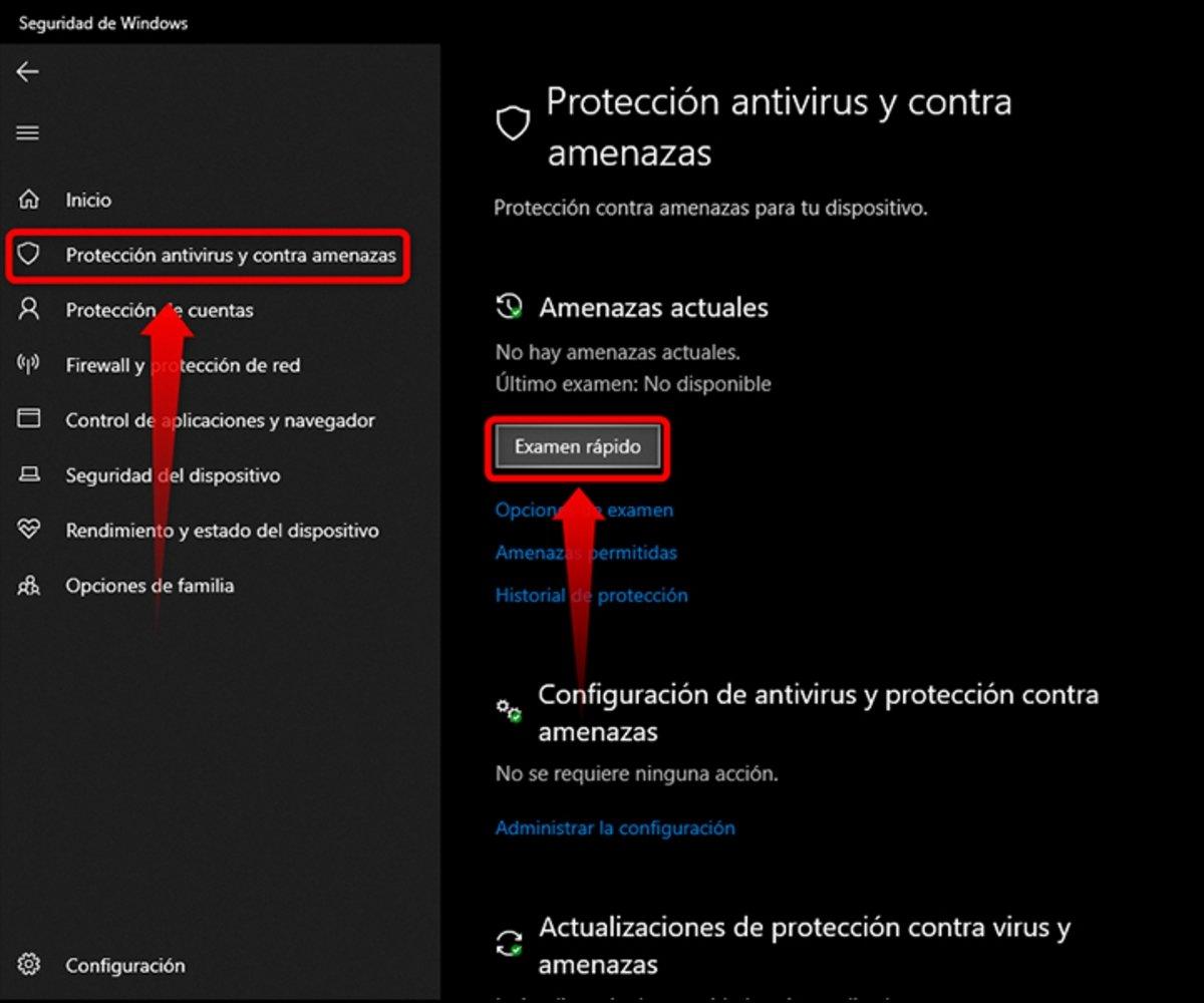 Activa la protección antivirus y contra amenazas