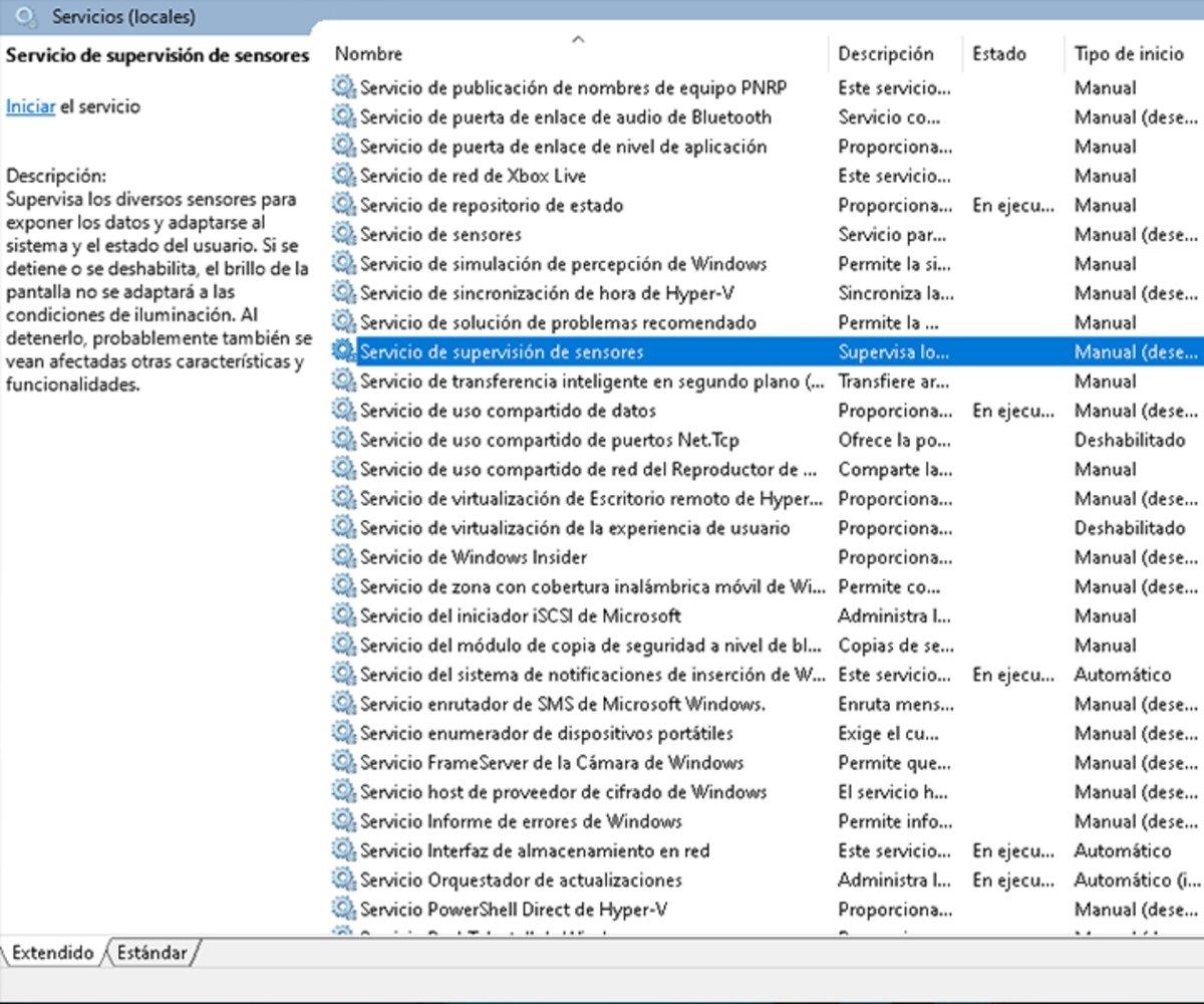 Como desactivar el brillo adaptativo en Windows 10 mediante los servicios de Windows