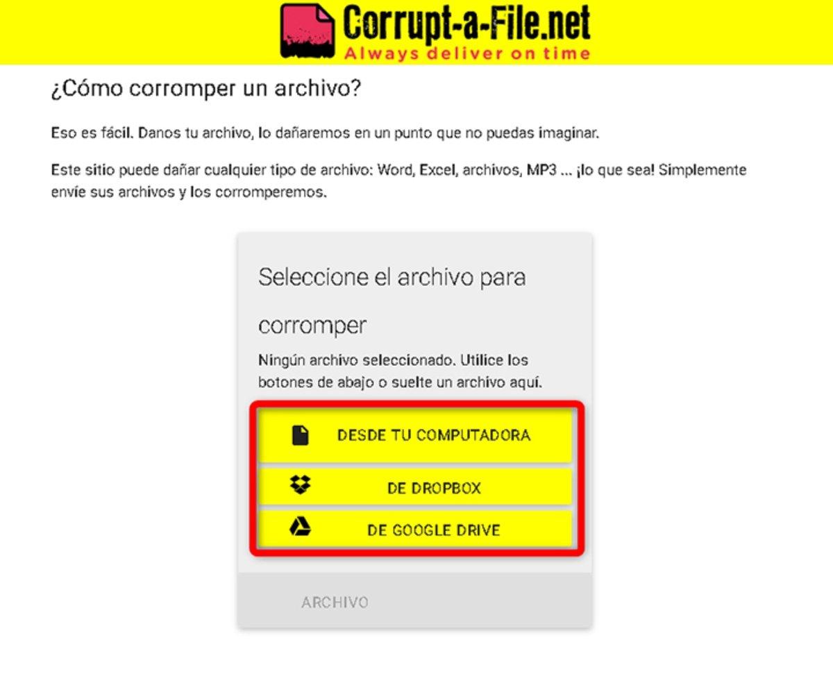 Corromper archivo con Corrupt-a-File