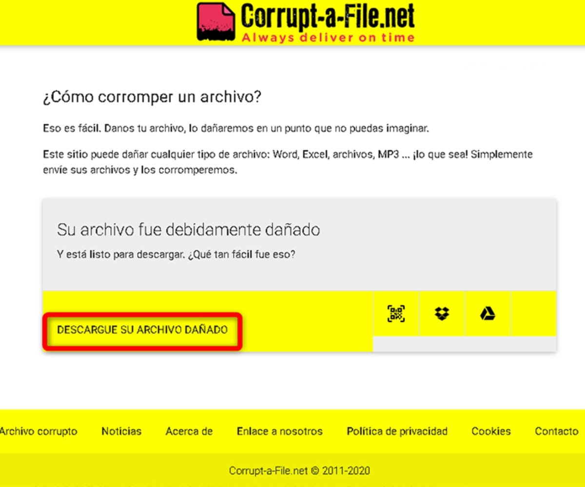 Descargar un archivo corrupto desde Corrupt-a-File
