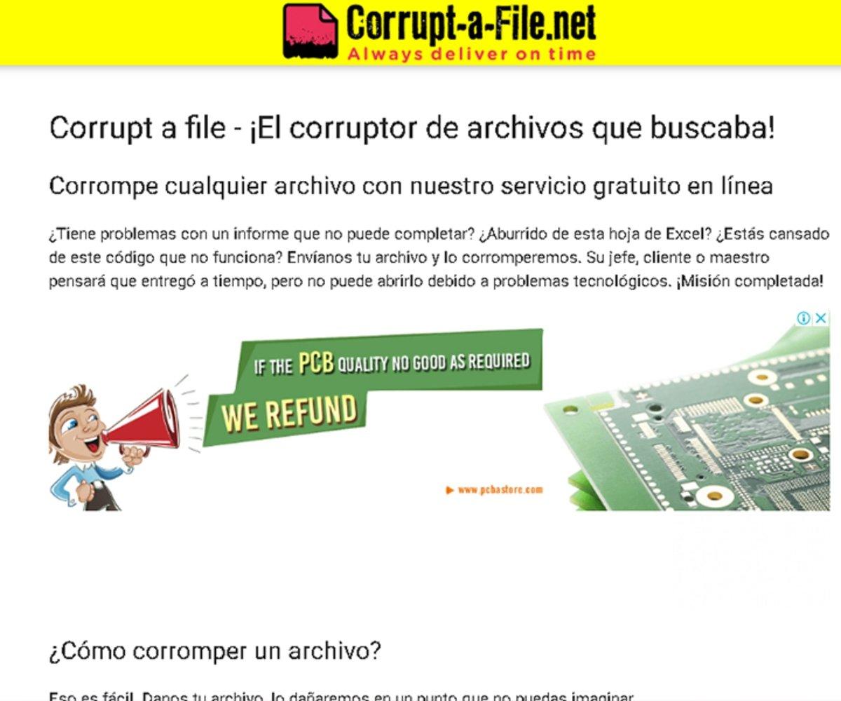 Subir el archivo a Corrupt-a-File