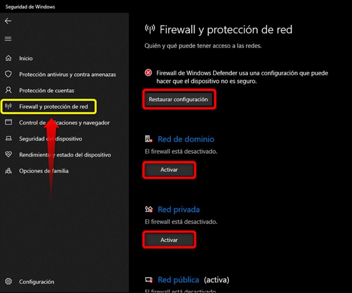 Verifica el estado de activación del Firewall