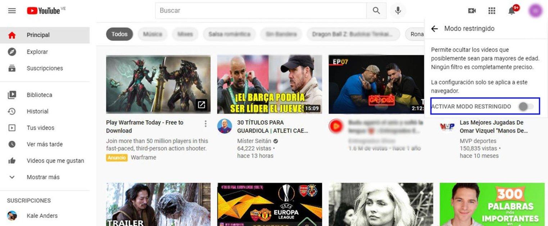 Cómo habilitar el Modo restringido de YouTube