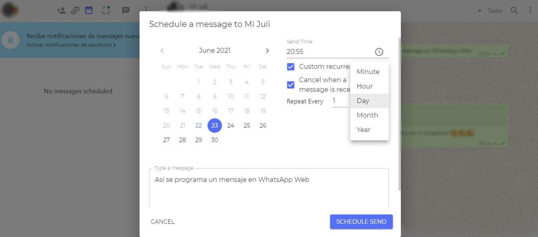 Cómo programar mensajes en WhatsApp Web con Blueticks